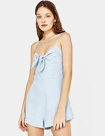 Fashion Blue Pure Color Decorated Jumpsuit
