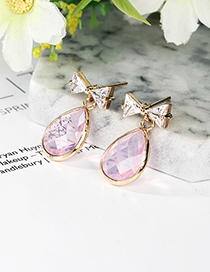 Pink Waterdrop&bowknot Shape Decorated Earrings
