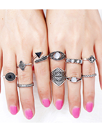 Vintage Silver Color Triangle&leaf Shape Decorated Ring (10 Pcs )