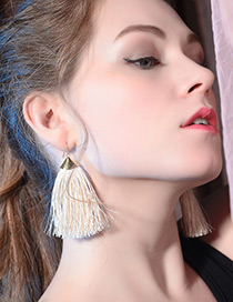 Elegant Beige Tassel Decorated Pure Color Earrings