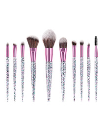 Trendy Pink Flame Shape Design Cosmetic Brush(10pcs)