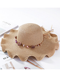 Fashion Light Coffee Flowers&shells Decorated Sunscreen Beach Hat