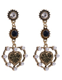 Vintage Antique Gold Heart Shape Decorated Earrings