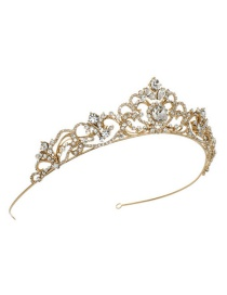 Fashion Gold Color Crown Decorated Hollow Out Hair Hoop