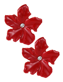 Fashion Claret Red Flowers Shape Design Simple Earrings