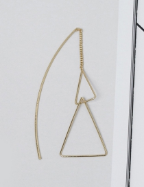 Fashion Gold Color Triangle Shape Decorated Earrings (1 Pc)