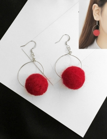 Fashion Red Pom Ball Decorated Earrings