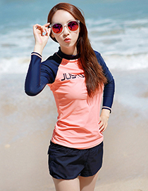 Sexy Navy+pink Long Sleeves Design Color Matching Swimsuit