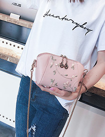 Fashion Pink Flowers Pattern Decorated Shoulder Bag