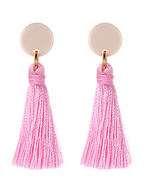 Elegant Pink Tassel Decorated Long Earrings