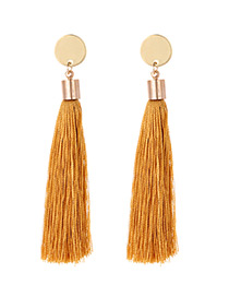 Fashion Brown Tassel Decorated Long Earrings