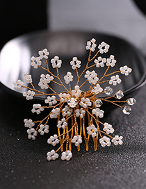 Elegant Gold Color Flower Shape Design Hair Comb