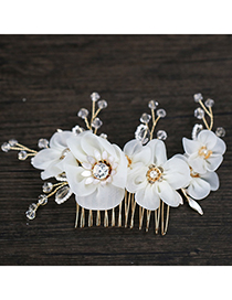Elegant White Flowers Decorated Simple Hair Comb