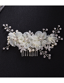 Elegant Beige Flowers&diamond Decorated Hair Comb