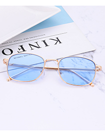 Fashion Blue Square Shape Design Pure Color Glasses