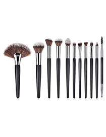 Fashion Black+coffee Sector Shape Design Cosmetic Brush(11pcs)
