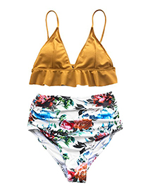 Sexy Multi-color Flowers Pattern Decorated Split Swimsuit