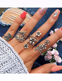 Fashion Silver Color Flower Shape Decorated Rings(4pcs)
