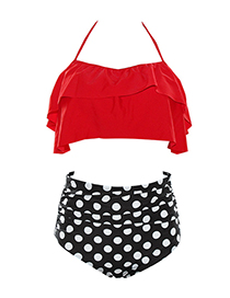 Sexy Red+black Off-the-shoulder Design Dots Pattern Decorated Swimwear(2pcs)