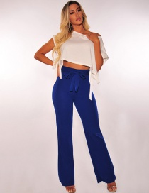 Fashion Blue Pure Color Decorated Pants