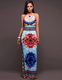 Fashion Multi-color Off-the-shoulder Deisgn Flower Pattern Dress