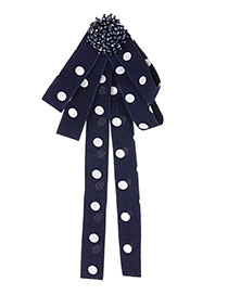 Fashion Navy Dots Pattern Decorated Bowknot Brooch