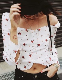 Fashion White Off-the-shoulder Design Flower Pattern Blouse