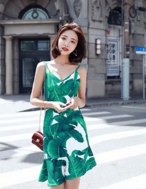 Fashion Green Leaf Pattern Decorated Suspender Dress