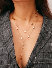 Fashion Gold Color Star Shape Decorated Multi-layer Necklace