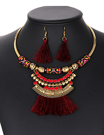 Fashion Claret Red Tassel Decorated Jewelry Sets