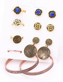 Fashion Gold Color Round Shape Decorated Earrings&Rings  (12 Pcs )