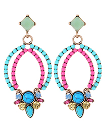Fashion Blue+pink Bead Decorated Hollow Out Earrings