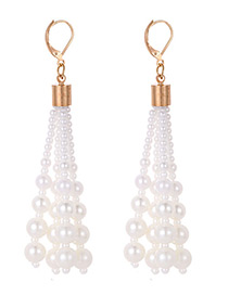 Fashion White Pearl Decorated Earrings
