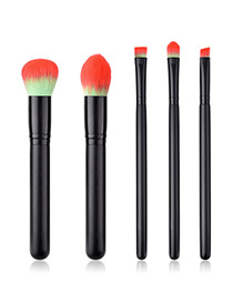 Fashion Black+orange Round Shape Decorated Makeup Brush (5 Pcs )