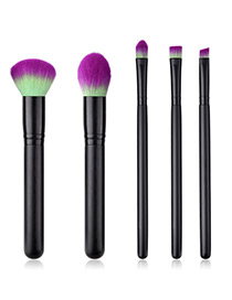 Fashion Black+purple Round Shape Decorated Makeup Brush (5 Pcs )