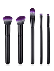 Fashion Black+gray Oblique Shape Decorated Makeup Brush (5 Pcs )