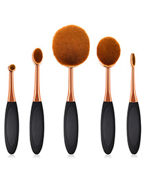 Fashion Rose Gold +black Round Shape Design Color Matching Cosmetic Brush(5pcs)