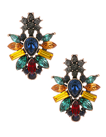 Fashion Multi-color Water Drop Shape Decorated Earrings