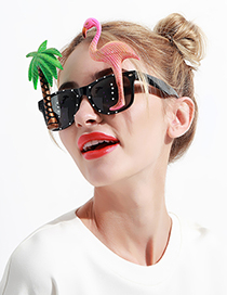 Fashion Black Flamingos&tree Shape Decorated Glasses