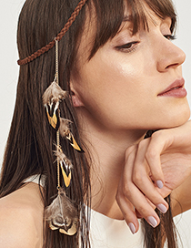 Fashion Coffee Feather Decorated Hair Accessories