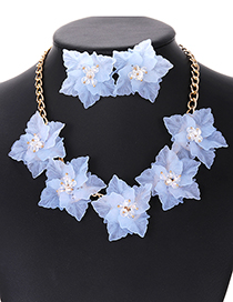 Elegant Light Blue Flowers Decorated Pure Color Jewelry Sets