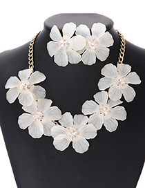 Elegant Beige Pure Color Design Flower Shape Jewelry Sets