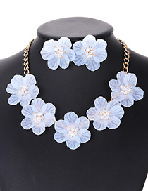 Elegant Light Blue Beads&flower Decorated Pure Color Jewelry Sets