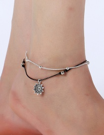 Elegant Silver Color Sunflower Decorated Double Layer Anklet
