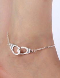 Elegant Silver Color Handcuffs Shape Design Pure Color Anklet