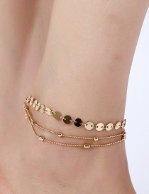 Elegant Gold Color Round Shape Decorated Pure Color Anklet