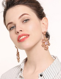 Elegant Pink Pure Color Design Hollow Out Earrings