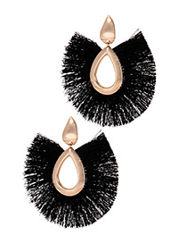 Elegant Black Water Drop Shape Design Tassel Earrings