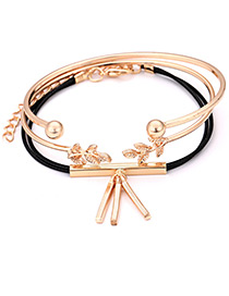 Elegant Gold Color Leaf Decorated Multi-layer Bracelet(3pcs)