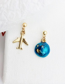 Lovely Sapphire Blue Aircraft Shape Design Simple Earrings